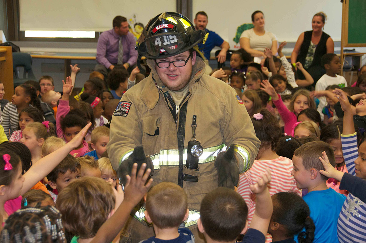 Mastic Firemen Visit Hobart Elementary School